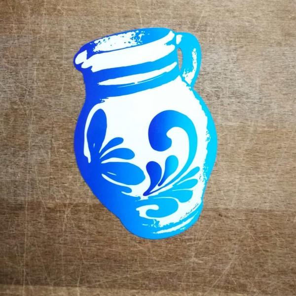 Aufkleber - Bembel weiss blau