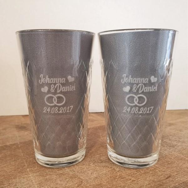 Hochzeit Apfelweinglas mit Gravur bedruckt Name und Datum