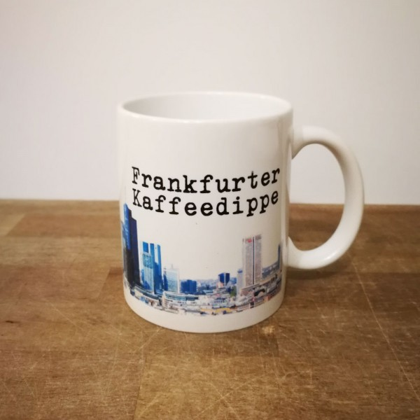 Tasse Frankfurter Kaffeedippe mit Skyline und Deinem Namen